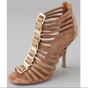 Tory Burch Heels Strappy Stiletto Tan and Gold